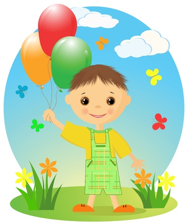 Happy little boy with balloons   Vector