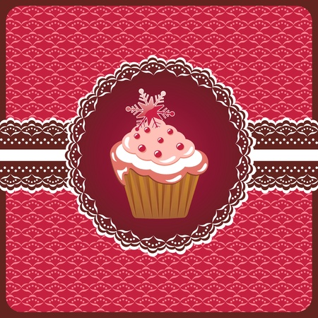 Christmas cake on the doily Stock Vector - 12488208