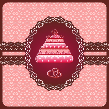 Christmas cake on the doily   Vector
