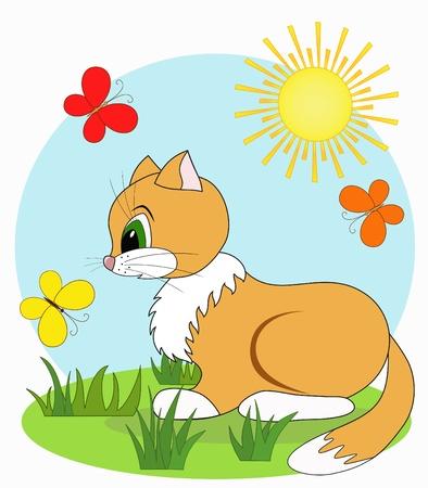 cat clipart: Cartoon baby cat,  Illustration