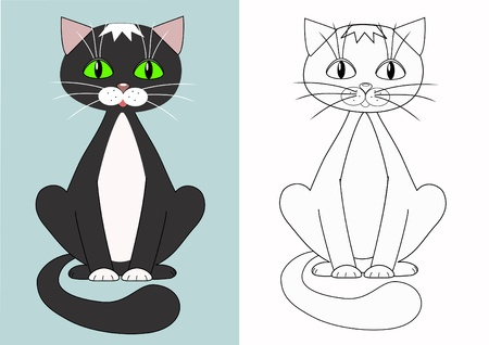 gray cat: Cartoon cat   Coloring    Illustration