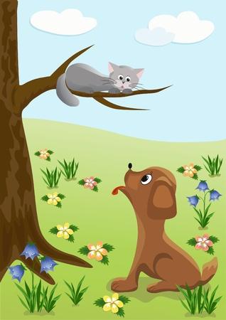 Dog and cat  Cartoon,  Illustration