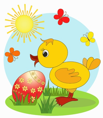 Duckling  Easter card, cartoon, Vector