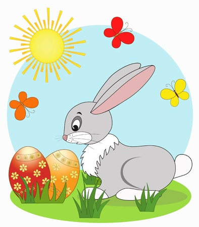 Easter card, cartoon, vector illustration Vector