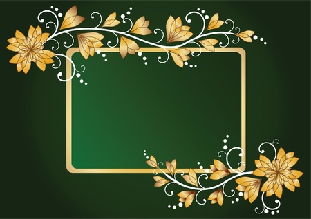 scroll border: Green floral background