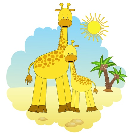 Mother-giraffe and baby-giraffe  Vector