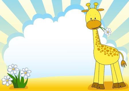Bebé jirafa y flores