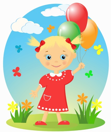 Happy little girl with balloons Stock Vector - 12487403