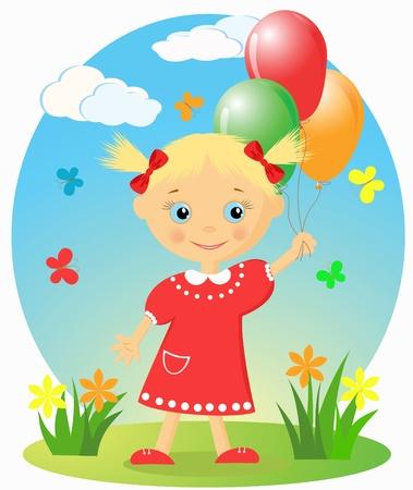 Felice bambina con palloncini