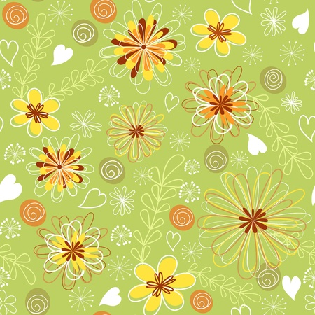 Green floral seamless   Stock Vector - 12487849