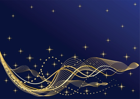 Abstract night  background  Waves   Vector