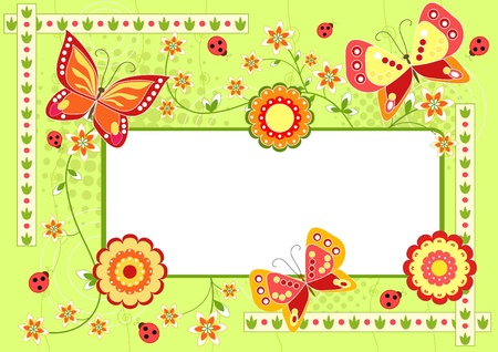 Floral frame with butterfly  Green  Vector