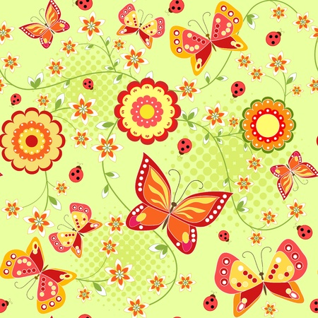 Floral seamless with butterfly  Green  Vector