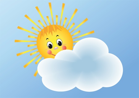 blue smiling: The sun and cloud