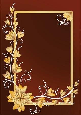 floral border frame: Vertical floral frame for text  Illustration