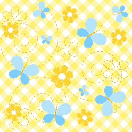 checkered wallpaper: Collection yellow baby seamless