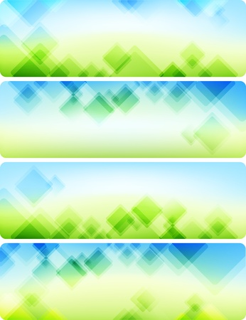 Air abstract backgrounds  Four banners