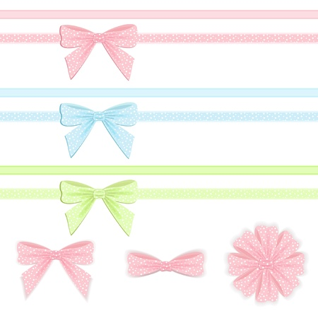 Pastel ribbon and bow collection Stock Vector - 12488214