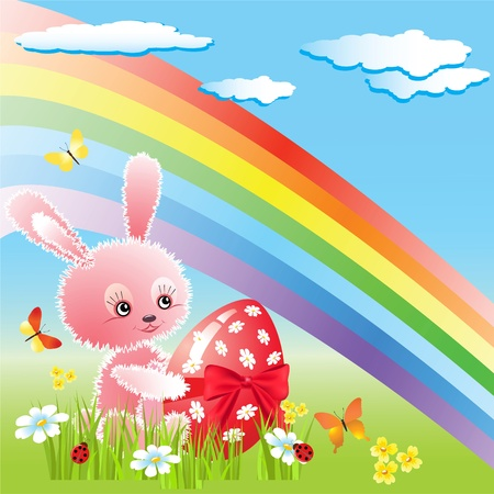 Little rabbit and rainbow   Vector