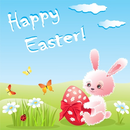 Rabbit and egg  Easter card   Vector
