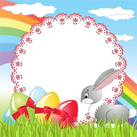 Rabbit on a meadow  Easter card  Vector