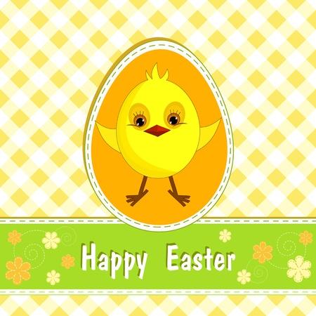 Congratulation card with chicken  Happy Easter   Vector