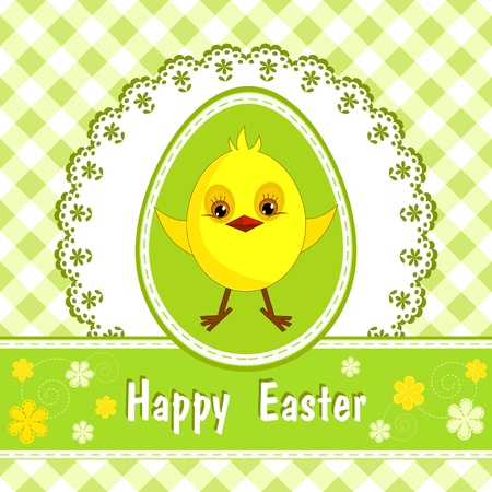 Congratulation card with chicken  Happy Easter  Vector