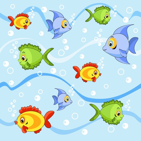 outline fish: Seamless with fish  Cartoon