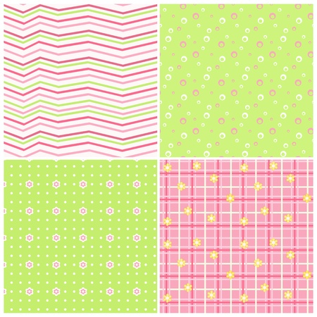 Pink-green baby seamless  Vector
