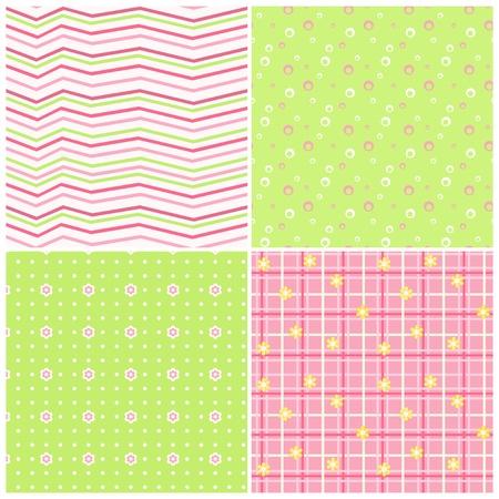 stria: Pink-green baby seamless  Illustration