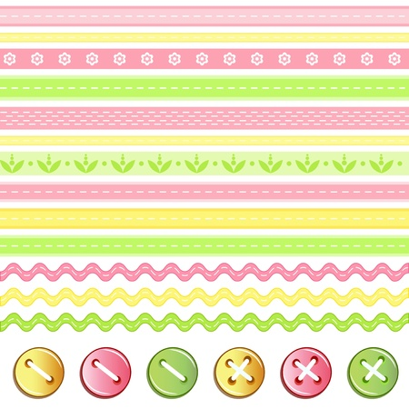 Button and ribbon collection   Vector