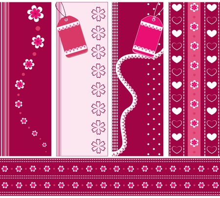 Set pink banners    Vector