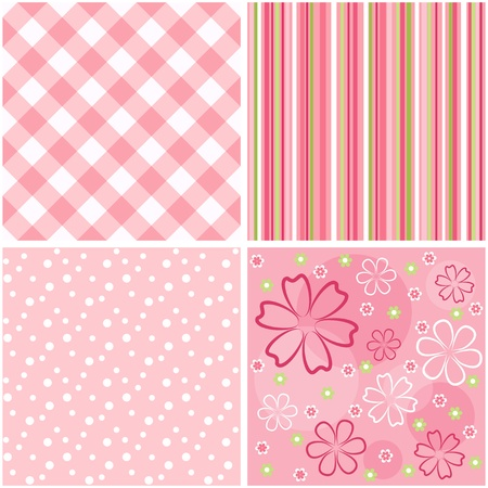 Collection pink seamless  Vector
