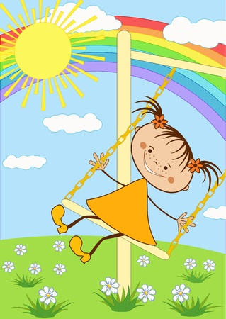 The girl on the swing  Vector