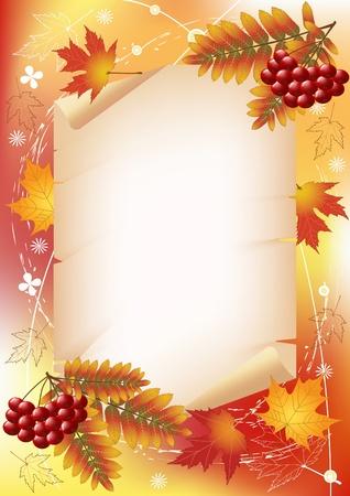 Vogelbeere: Herbst Hintergrund mit Platz für Ihren Text