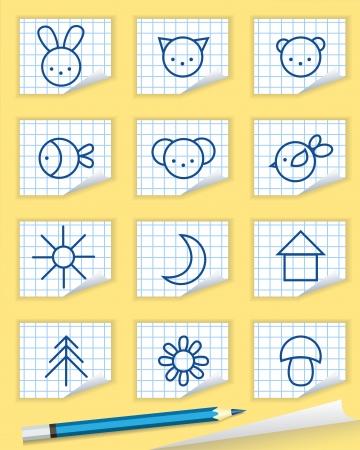 Iconos del bebé en el bloc de notas