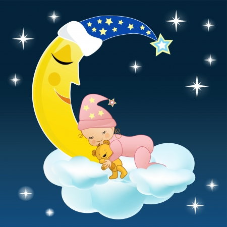 The baby sleeps on a cloud   Vector