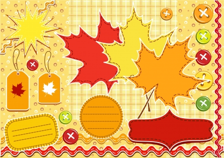 Autumn set for scrapbook with doily  Vector