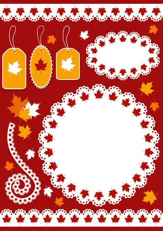 Autumn set for scrapbook  Vector