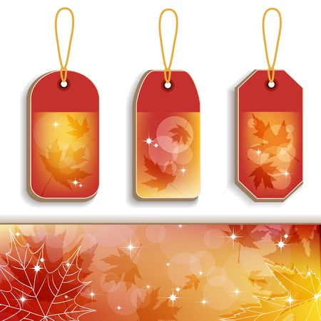 Autumn transparent tags Vector