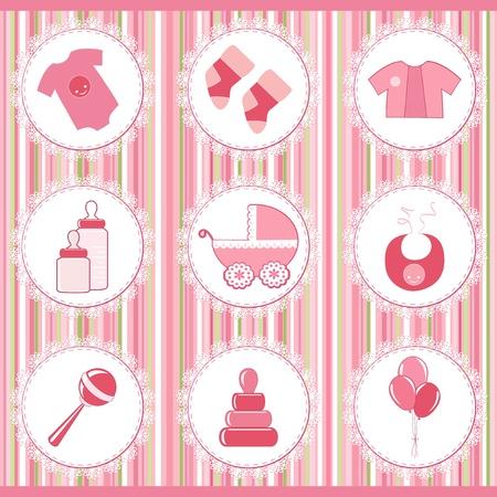 rattle: Baby labels  Design element Illustration