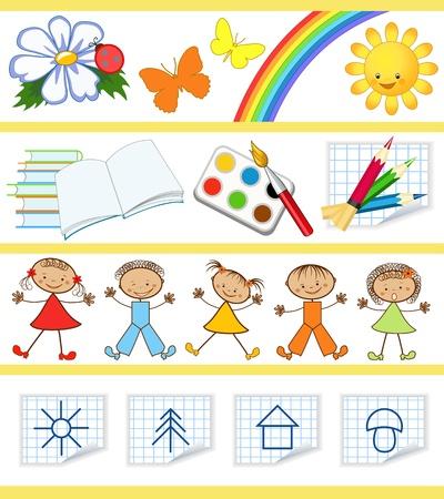 子供たちの教育セット  イラスト・ベクター素材