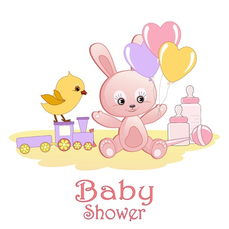 cartoon rabbit: Baby Shower card
