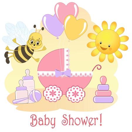 ベビー シャワー カード  イラスト・ベクター素材