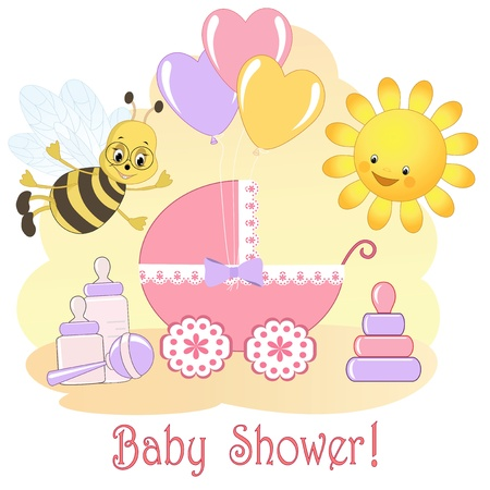 Baby Shower card Stock Vector - 14155786