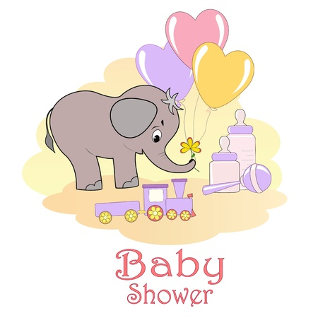 pink elephant: Baby Shower card