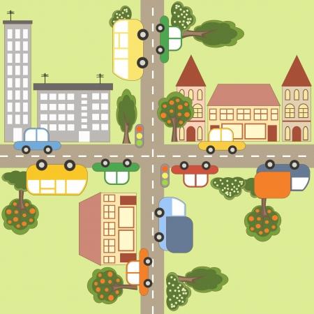 市街地図漫画  イラスト・ベクター素材
