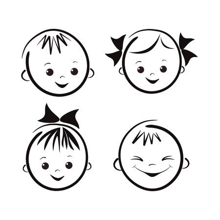 gesichtsausdruck: Lachende Kinder Illustration