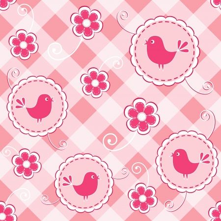 Baby pink seamless with bird    Vector