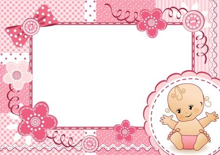 ピンクの赤ちゃんフレーム  イラスト・ベクター素材